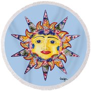 Talavera Sun-blue Round Beach Towel