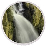 Tall Canyon Waterfalls Round Beach Towel