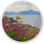 Tall Fireweed And Cow Parsnip Over Cook Inlet Near Homer- Ak Round Beach Towel