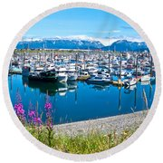 Tall Fireweed By The Marina Along Homer Spit-ak  Round Beach Towel