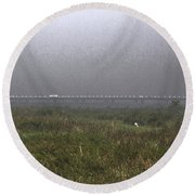 Tall Grass And View Of Bridge Round Beach Towel