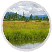 Tall Grasses In Swan Lake In Grand Teton National Park-wyoming Round Beach Towel