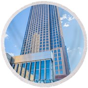 Tall Highrise Buildings In Uptown Charlotte Near Blumental Perfo Round Beach Towel