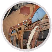 Tall In The Saddle II Round Beach Towel