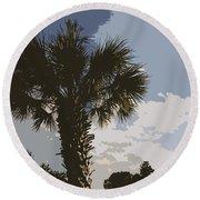 Tall Palm Round Beach Towel