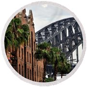 Tall Palms Before Beautiful Architecture Round Beach Towel