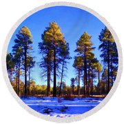 Tall Ponderosa Pine Round Beach Towel