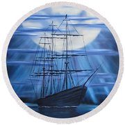 Tall Ship By Moonlight Round Beach Towel