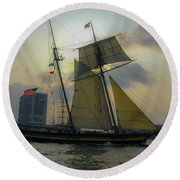Tall Ship Chasing The Sun Round Beach Towel