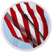 Tall Ship Flag Round Beach Towel