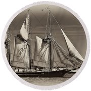 Tall Ship II Round Beach Towel