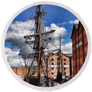 Tall Ship In Gloucester Docks Round Beach Towel