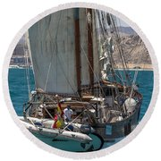 Tall Ship Isla Ebusitania  Round Beach Towel