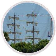 Tall Ship Mast Charleston  Round Beach Towel