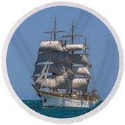 Tall Ship Mircea Round Beach Towel