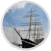 Tall Ship Mushulu At Penns Landing Round Beach Towel