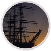 Tall Ship Silhouetted Round Beach Towel