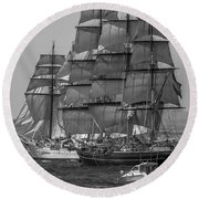 Tall Ship Stad Amsterdam Round Beach Towel