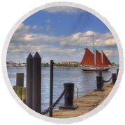 Tall Ship The Roseway In Boston Harbor Round Beach Towel by Joann Vitali