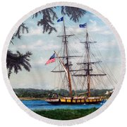 The Tall Ship Niagara Round Beach Towel
