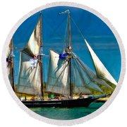 Tall Ship Vignette Round Beach Towel