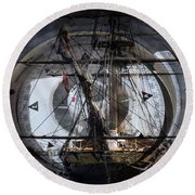 Tall Ship With Compass 2013 Round Beach Towel