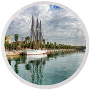 Tall Ships And Palm Trees - Impressions Of Barcelona Round Beach Towel