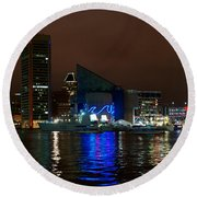 Tall Ships At Night Panorama Set Panel 2 Round Beach Towel