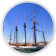 Tall Ships Big Bay Round Beach Towel
