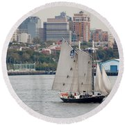 Tall Ships In The Harbor Round Beach Towel