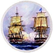 Tall Ships Uss Essex Captures Hms Alert  Round Beach Towel