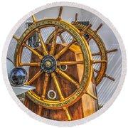 Tall Ships Wheel Round Beach Towel