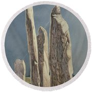 Tall Stones Of Callanish Isle Of Lewis Round Beach Towel