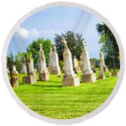 Tall Tombstones Panorama Round Beach Towel by Thomas Woolworth