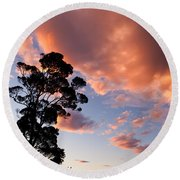 Tall Tree Against A Dramatic Sunset Clouds Sky Round Beach Towel