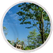 Tall Tree And Temple Round Beach Towel