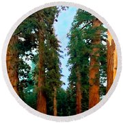 Tall Trees In Yosemite National Park Round Beach Towel