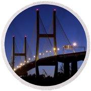 Talmadge Memorial Bridge Savannah Round Beach Towel