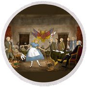 Tammy In Independence Hall Round Beach Towel by Reynold Jay