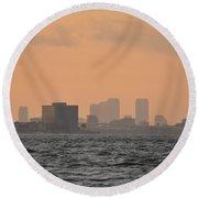 Tampa At Sunrise Round Beach Towel
