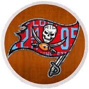 Tampa Bay Buccaneers Football Team Retro Logo Florida License Plate Art Round Beach Towel