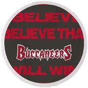 Tampa Bay Buccaneers I Believe Round Beach Towel