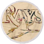 Tampa Bay Rays Logo Art Round Beach Towel