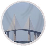 Tampa Sky Way Bridge Round Beach Towel