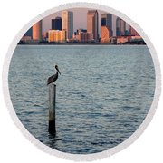 Tampa Skyline And Pelican Round Beach Towel