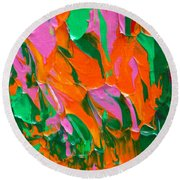 Tangerine And Lime Round Beach Towel by Donna Blackhall