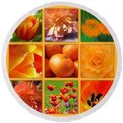 Tangerine Dream Window Round Beach Towel by Joan-Violet Stretch