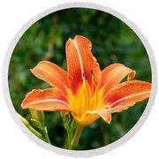 Tangerine Lily Round Beach Towel