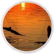 Tangerine Moonlight Round Beach Towel by Karen Wiles