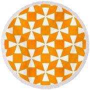 Tangerine Twirl Round Beach Towel